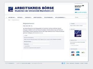 Webdesign Mitgliederbereich des Arbeitskreis Börse