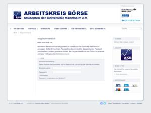 Webdesign Screenshot - Mitgliederbereich - akboerse