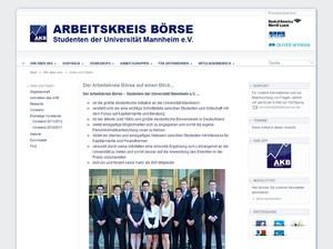 Webdesign Ziele Webseite des Arbeitskreis Börse Mannheim