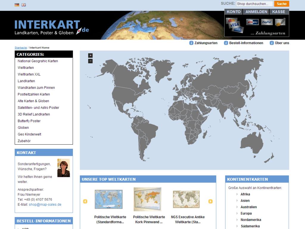 interkart Shop – Startseite Karte aufgeklappt