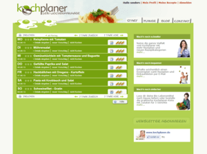 Screenshot Wochenplan vom Kochplaner