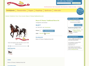 Produkt Einzelansicht Webdesign Screenshot spielwarenversand.de