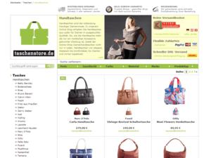 Screenshot der Handtaschen Webseite