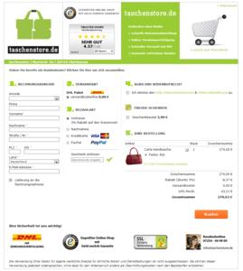ganze Seite Kasse vom taschenstore.de Webdesign