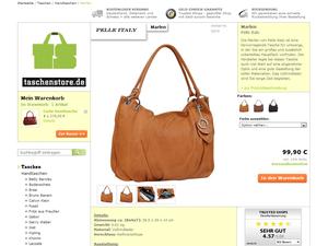 Einzelproduktansicht Webdesign Layout vom Taschenstore.de Shop