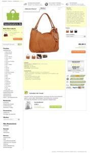 ganze Seite Webdesign Layout der Taschenstore.de Webseite