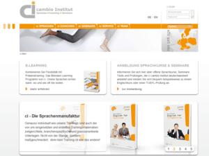 Screenshot der Startseite von cambio institut