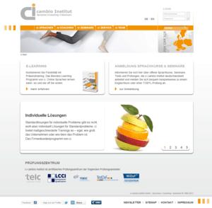 Komplette Startseite des cambio-institut