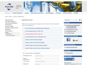 Webdesign des Bestellformulars fuchs-oil
