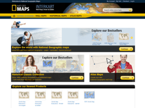 Webdesign Screenshot des national geographic maps Shops