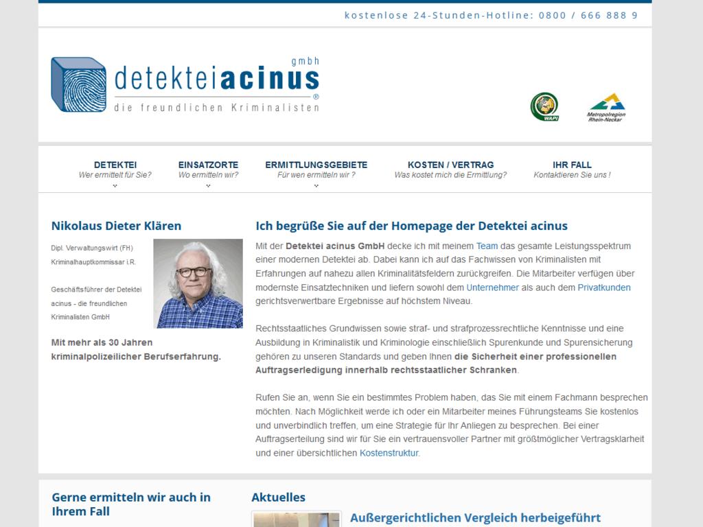 responsive Webdesign für die Detektei acinus GmbH - Startseite