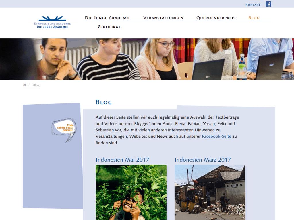 Neues responsive Webdesign für Die Junge Akademie – Blogseite