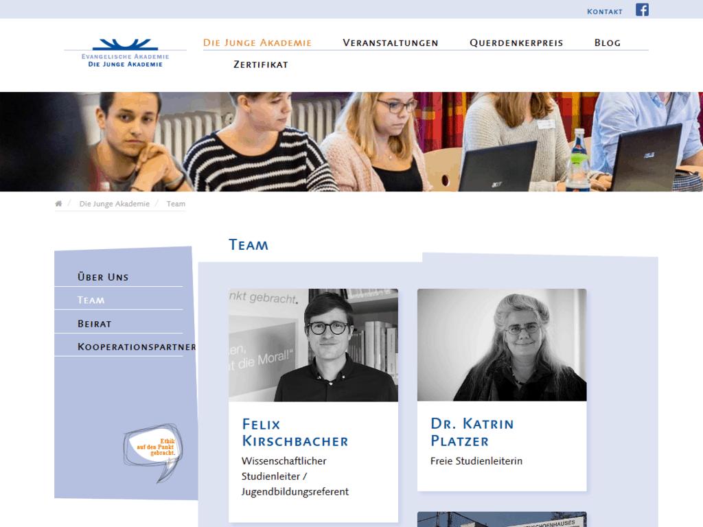 Neues responsive Webdesign für Die Junge Akademie – Teamseite