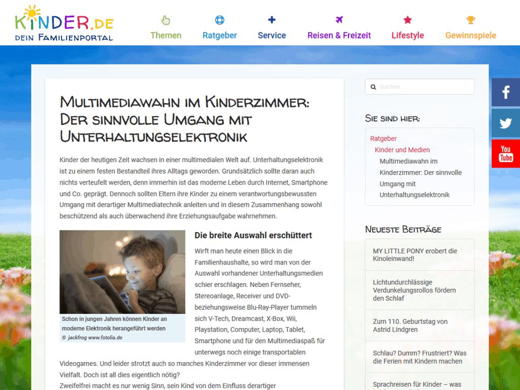 responsive Webdesign kinder.de Familienportal, Artikel