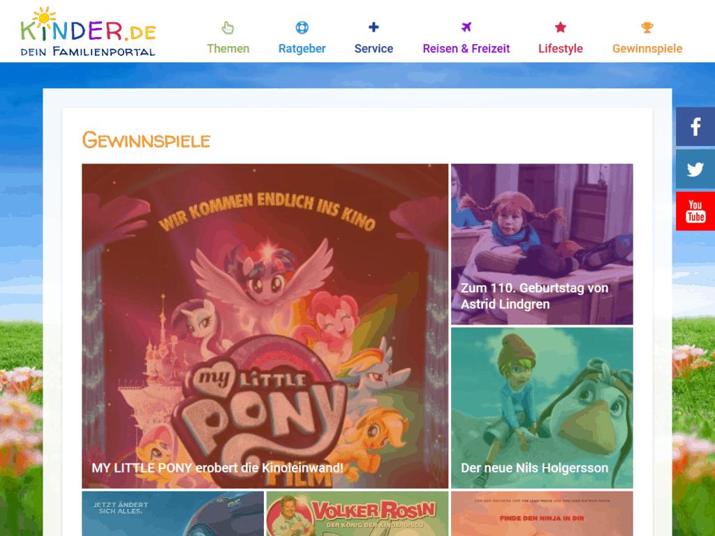 responsive Webdesign kinder.de Familienportal, Gewinnspiele
