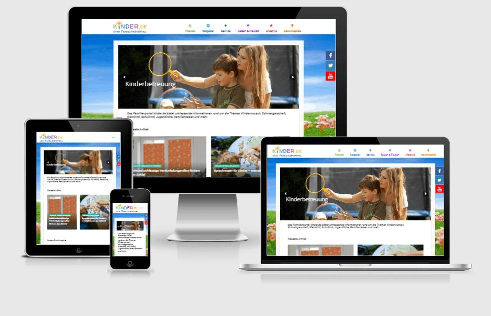 responsive Webdesign kinder.de Familienportal