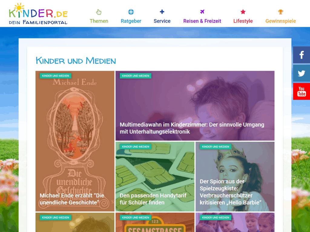responsive Webdesign kinder.de Familienportal, Ratgeber