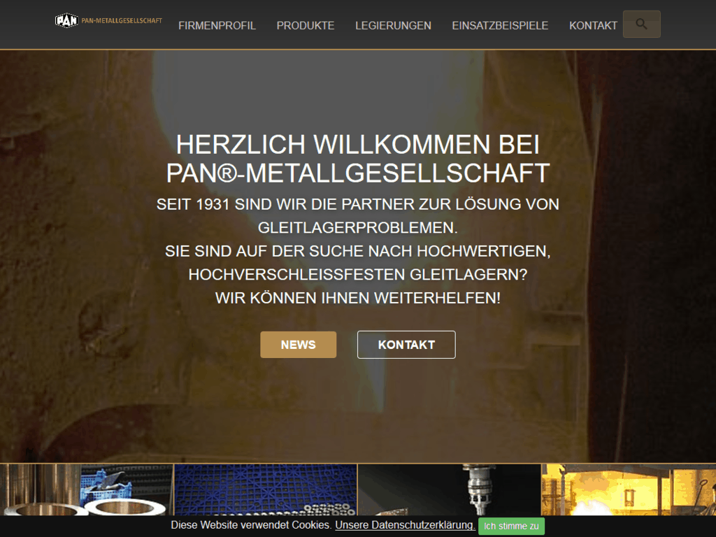 Neues responsive Webdesign Pan Metallgesellschaft - Startseite