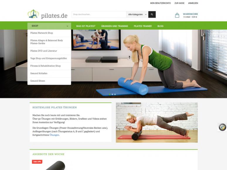comvos realisiert E-Shop www.pilates.de