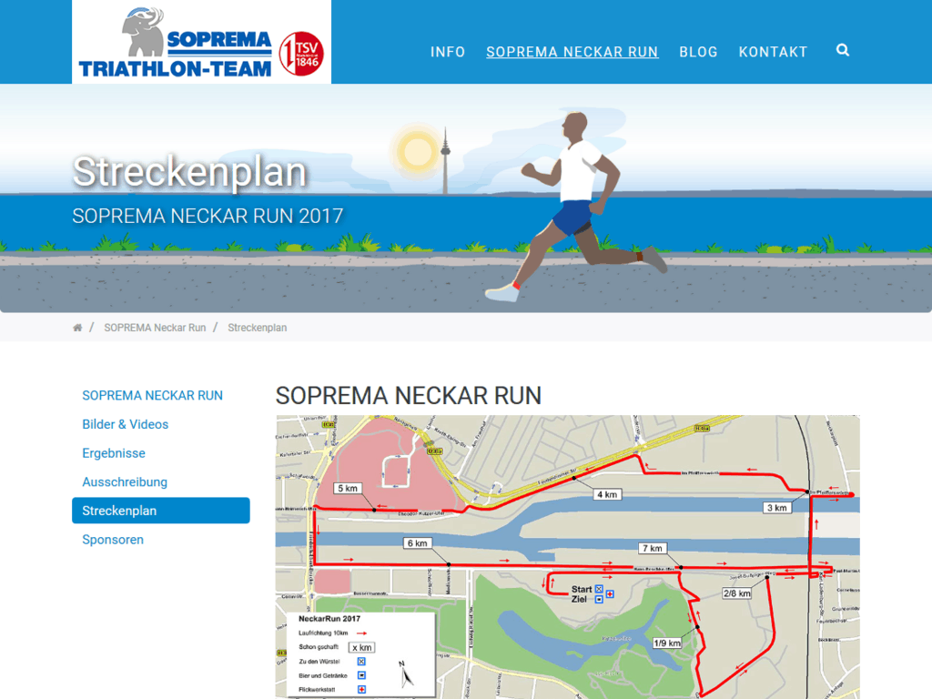 Responsive Webdesign für das Soprema Triathlon Team – Neckarrun