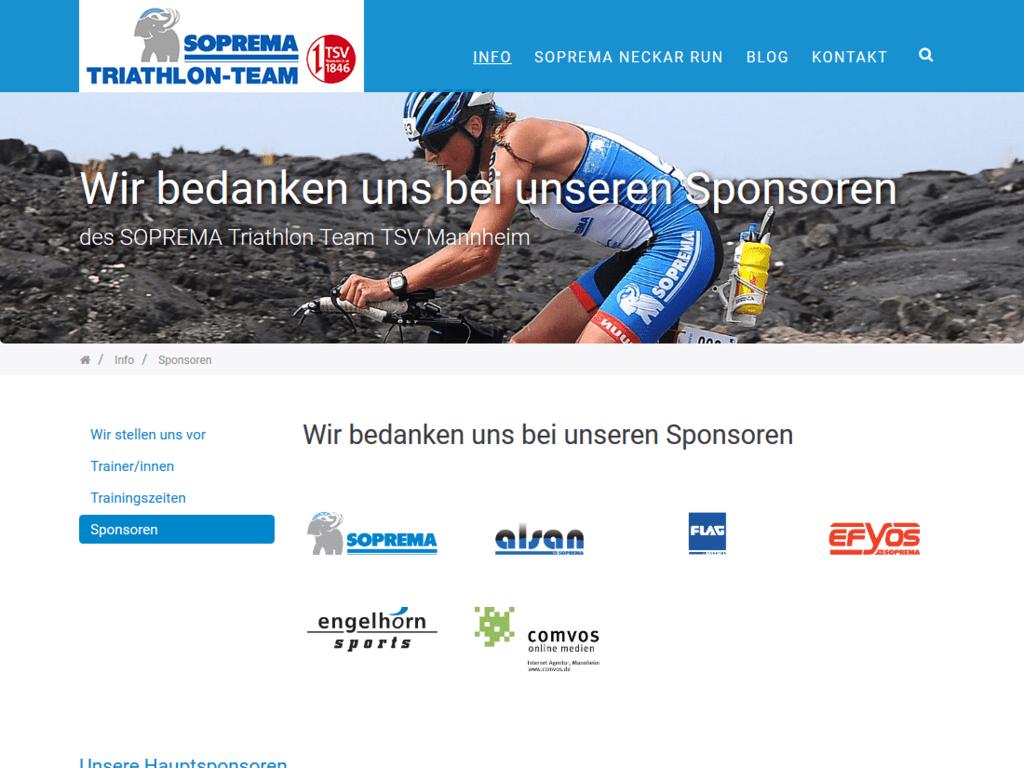 Responsive Webdesign für das Soprema Triathlon Team – Sponsoren