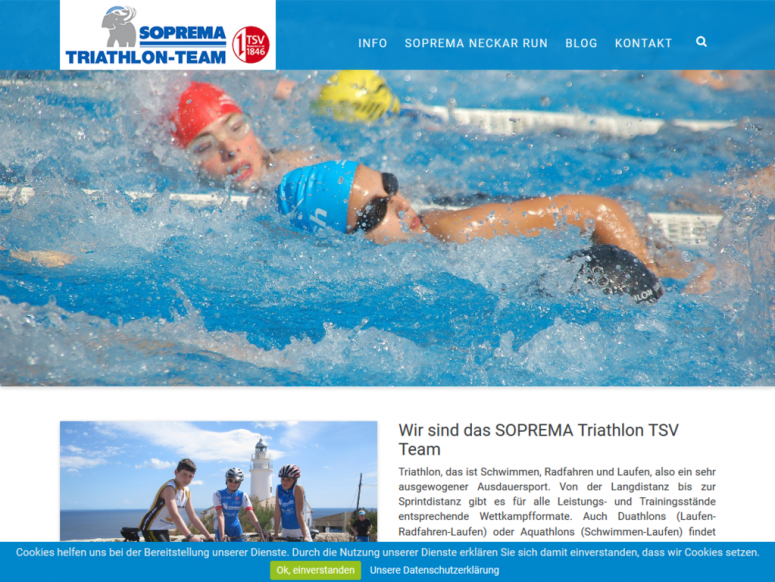 Website für SOPREMA Triathlon Team in responsive Webdesign
