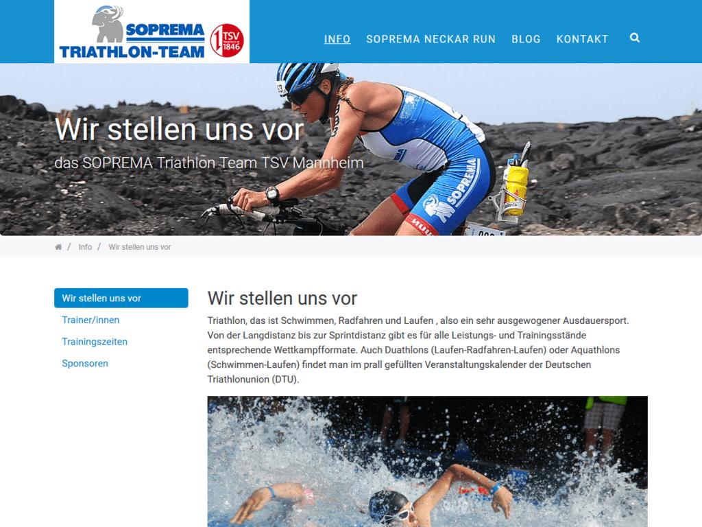 Responsive Webdesign für das Soprema Triathlon Team – Team