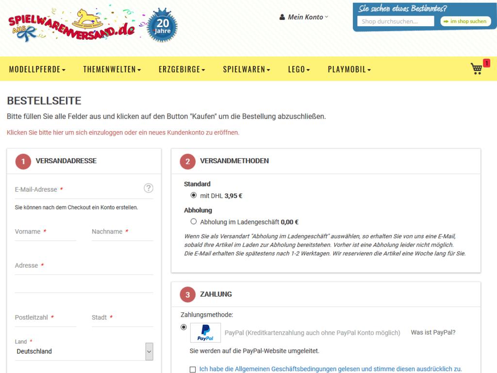 responsive Webdesign spielwarenversand.de Shop – Checkout