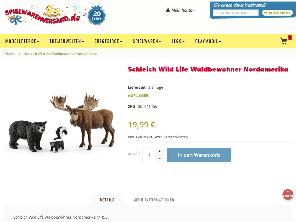 responsive Webdesign spielwarenversand.de Shop – Produkt Schleich
