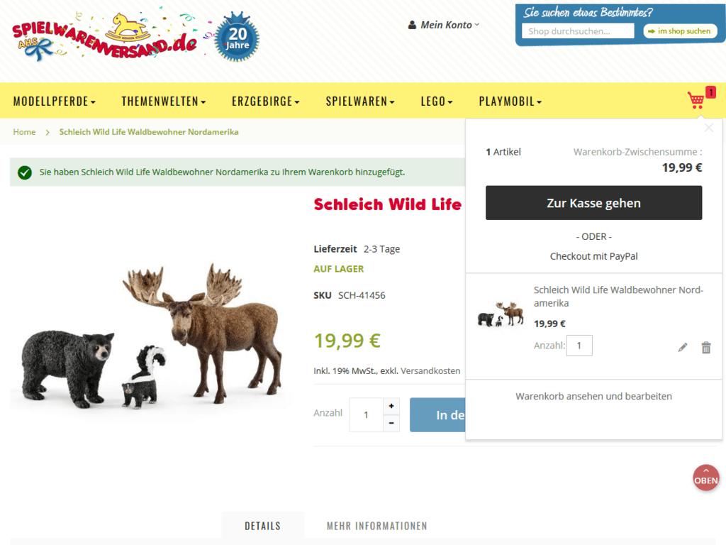 responsive Webdesign spielwarenversand.de Shop – Warenkorb