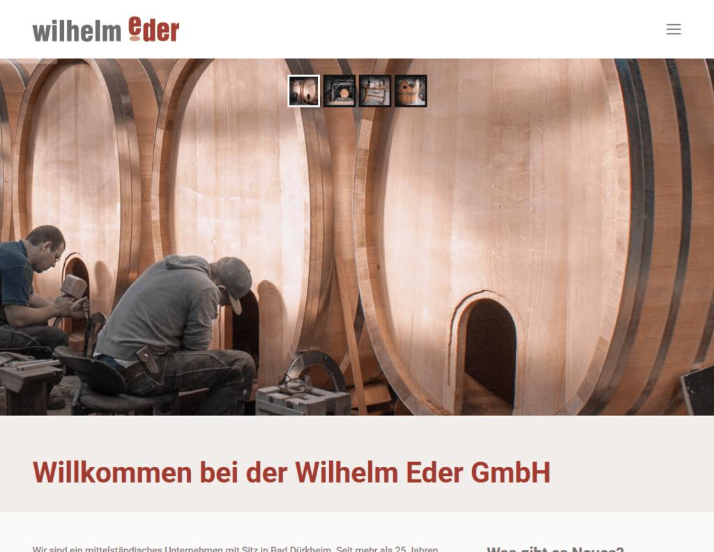 responsive Webdesign Wilhelm Eder GmbH, Startseite