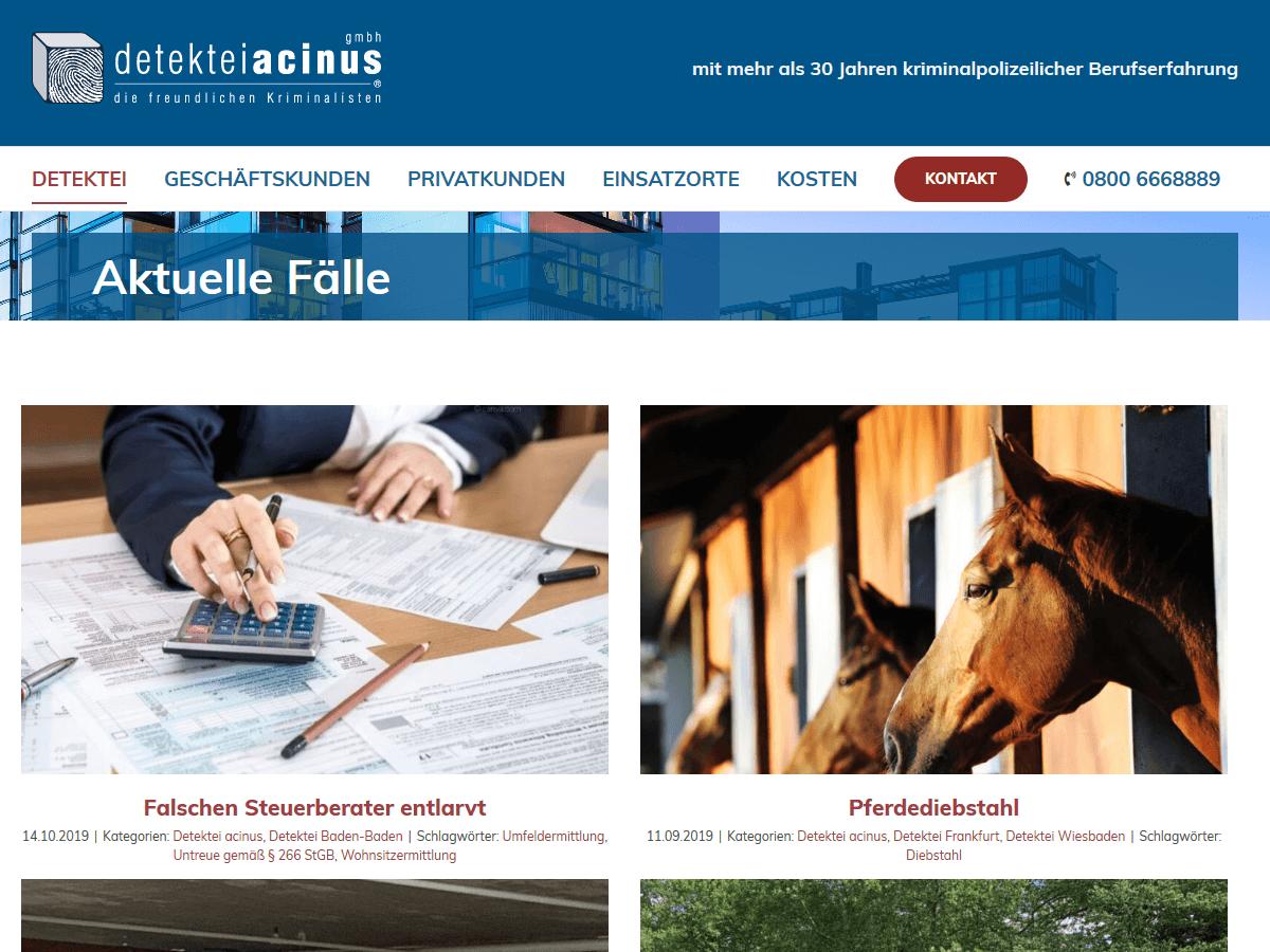 responsive Webdesign Detektei acinus GmbH, Aktuelles