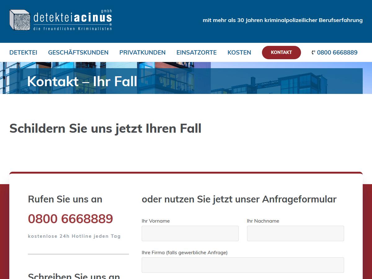 responsive Webdesign Detektei acinus GmbH, Anfrage