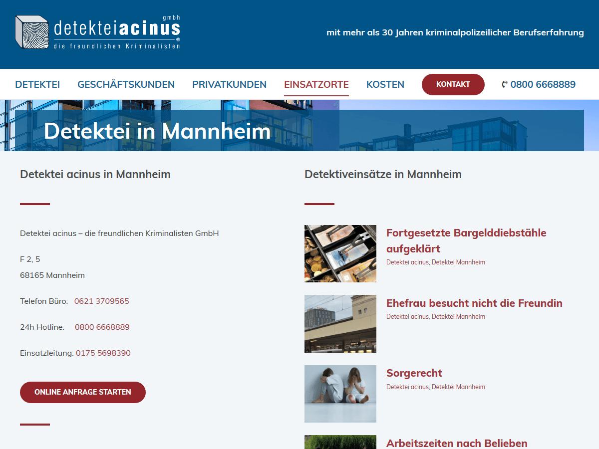 responsive Webdesign Detektei acinus GmbH, Mannheim