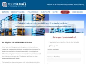 responsive Webdesign Detektei acinus GmbH, Startseite