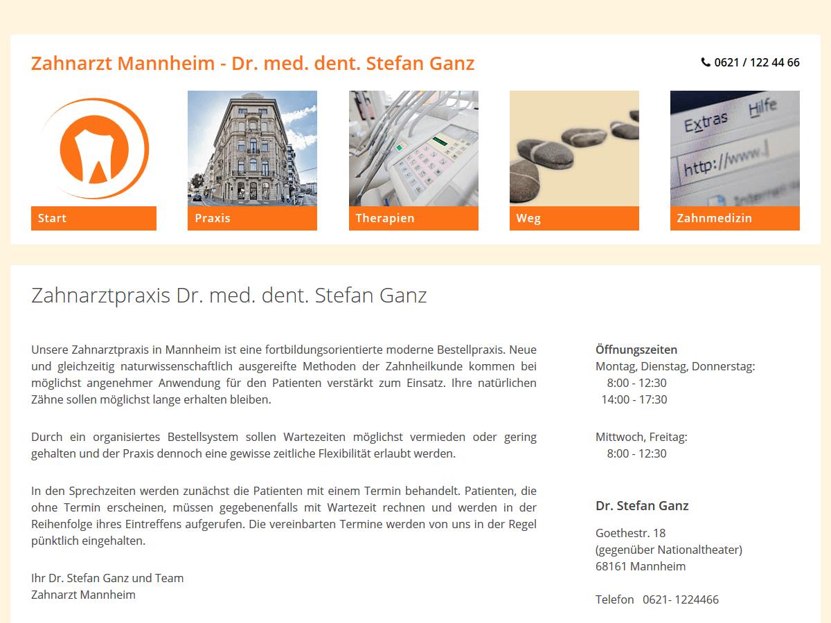 responsive Webdesign Dr. Ganz, Mannheim, Zahnarzt