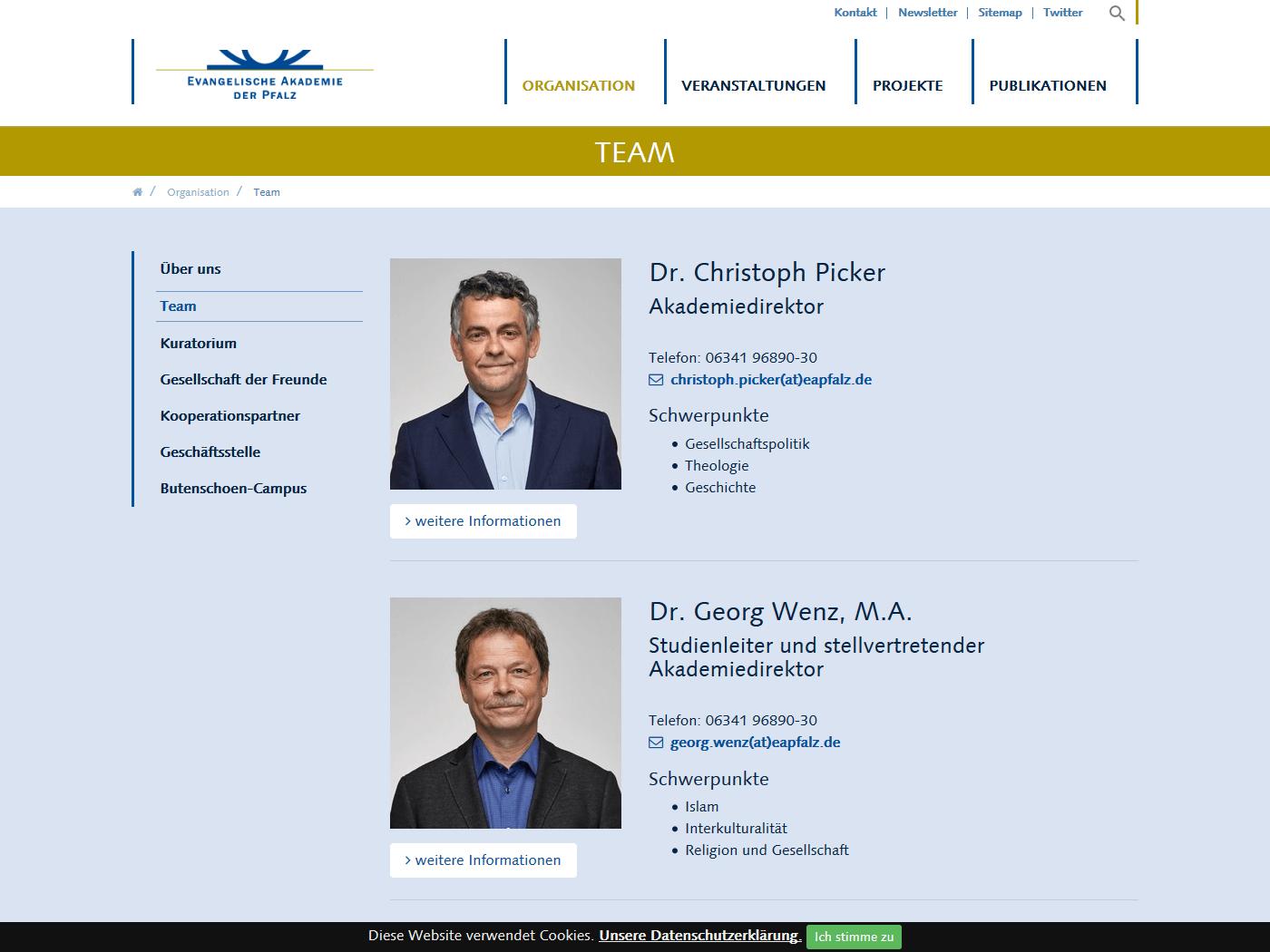 responsive Webdesign Evangelische Akademie der Pfalz, Team
