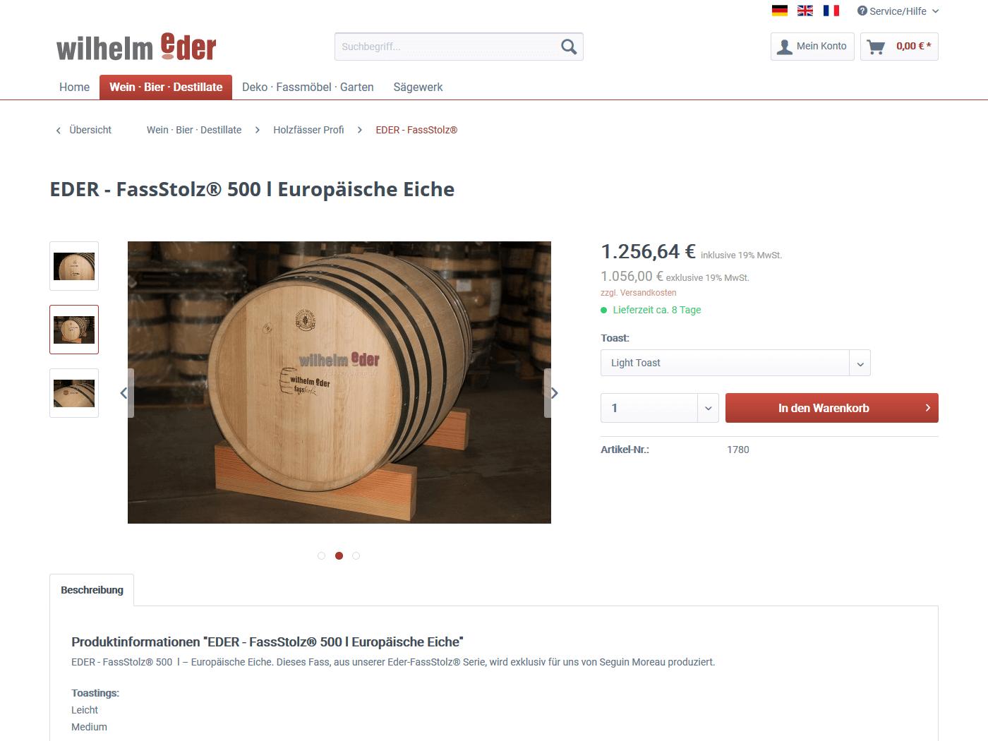 responsive Webdesign Fässer-Shop, Fass