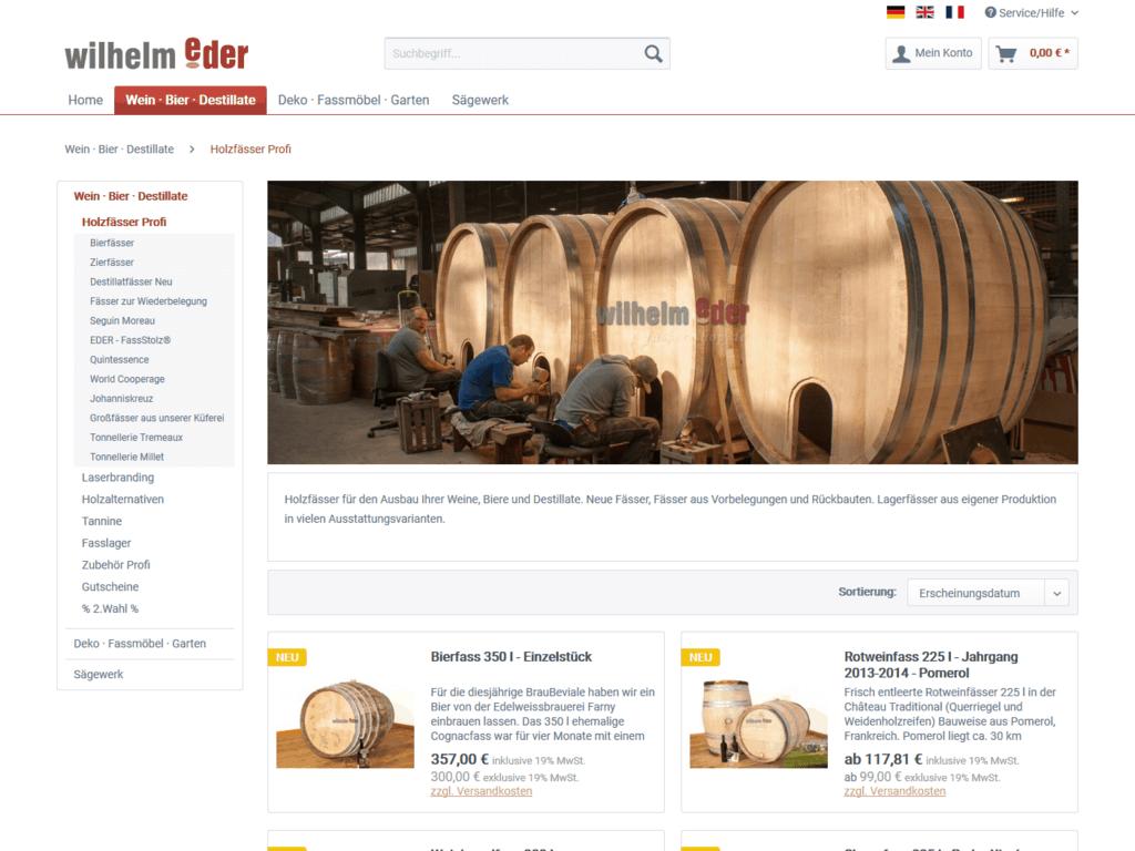 responsive Webdesign Fässer-Shop, Fässer