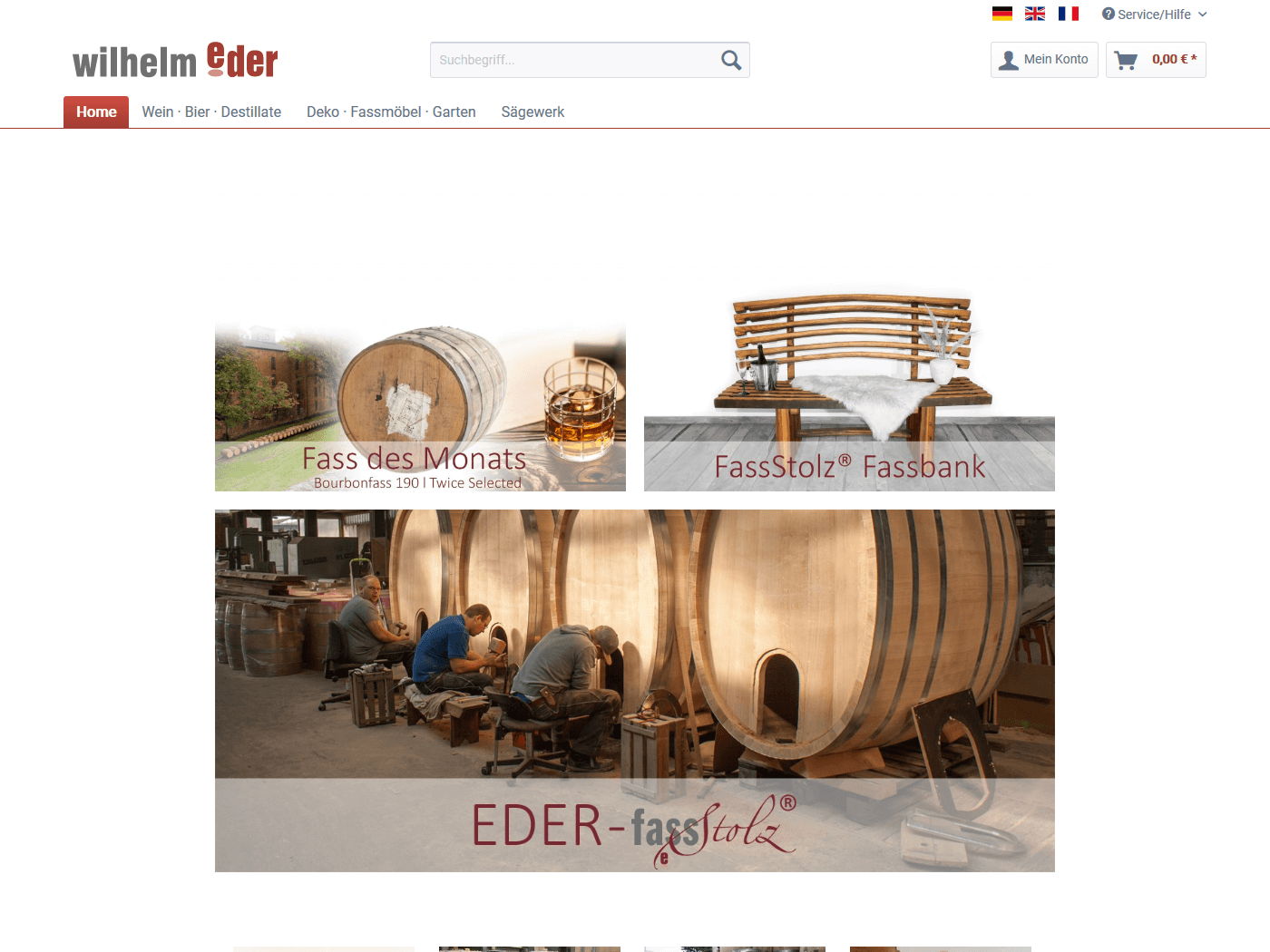 responsive Webdesign Fässer-Shop, Startseite