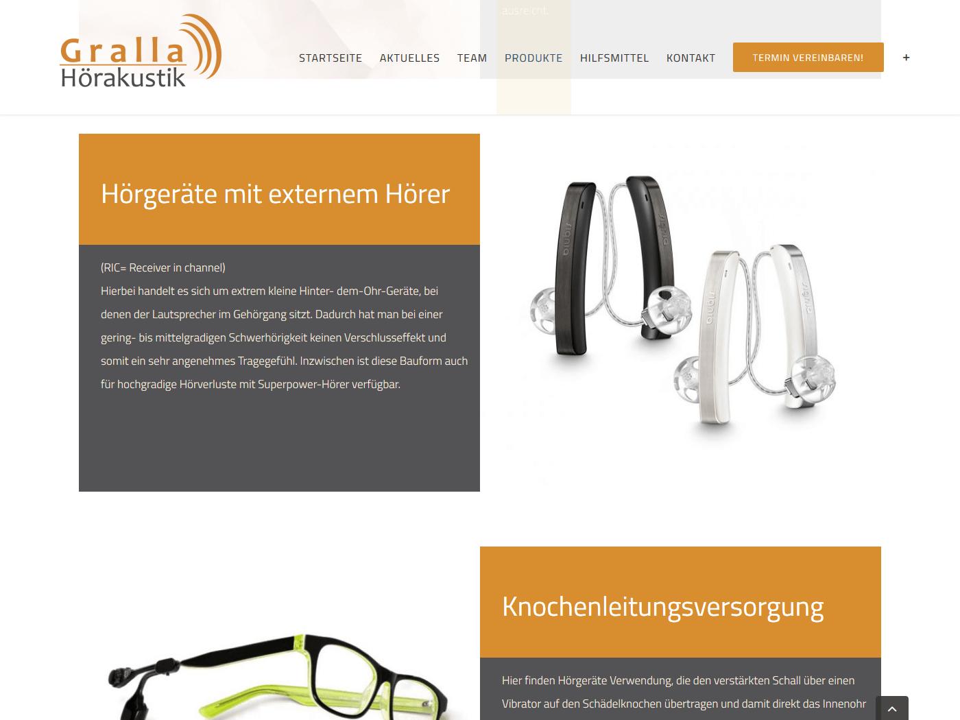 responsive Webdesign Gralla Hörakustik, Mannheim, Hörgeräte