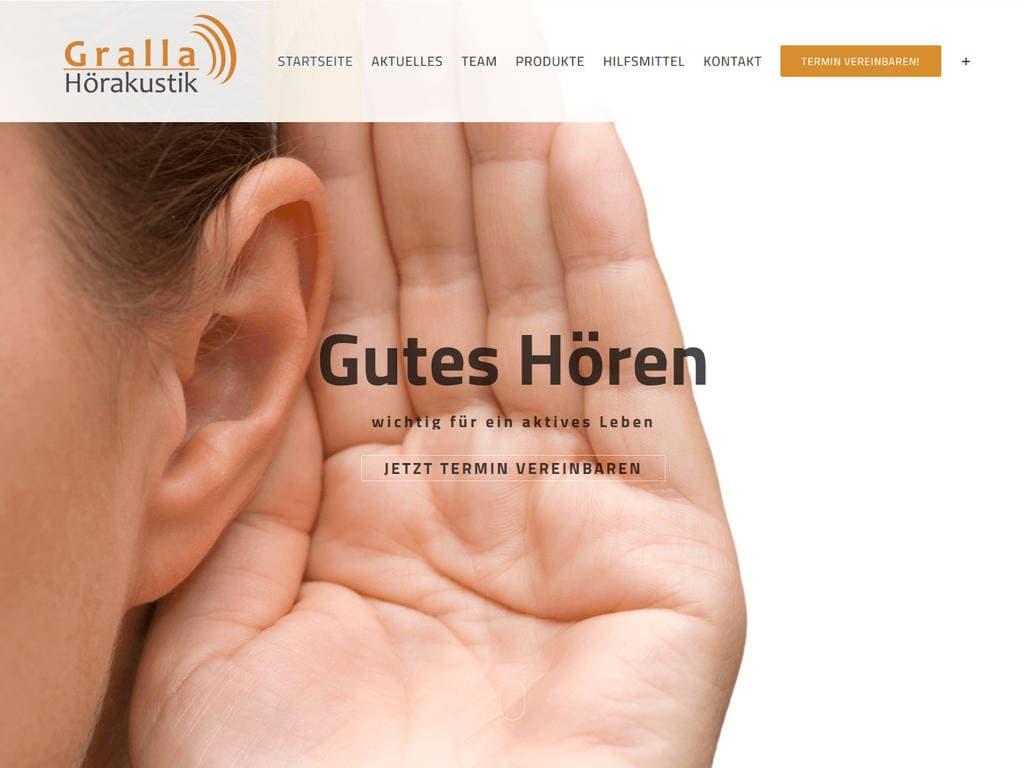responsive Webdesign Gralla Hörakustik, Mannheim, Startseite