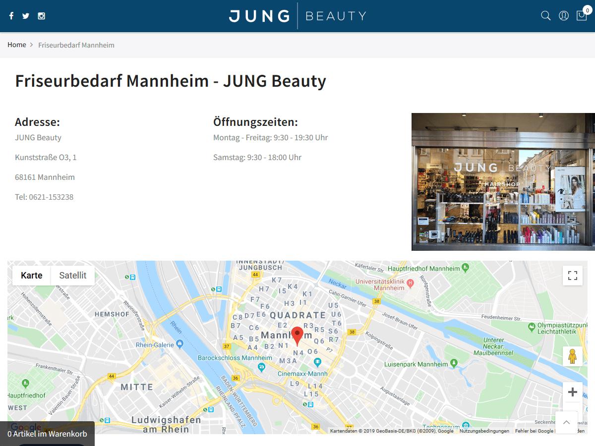 responsive Webdesign Jung Beauty Shop, Mannheim