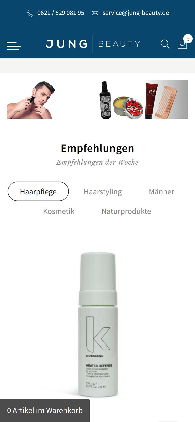 responsive Webdesign Jung Beauty Shop, mobile Ansicht