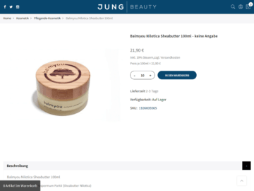 responsive Webdesign Jung Beauty Shop, Produkt