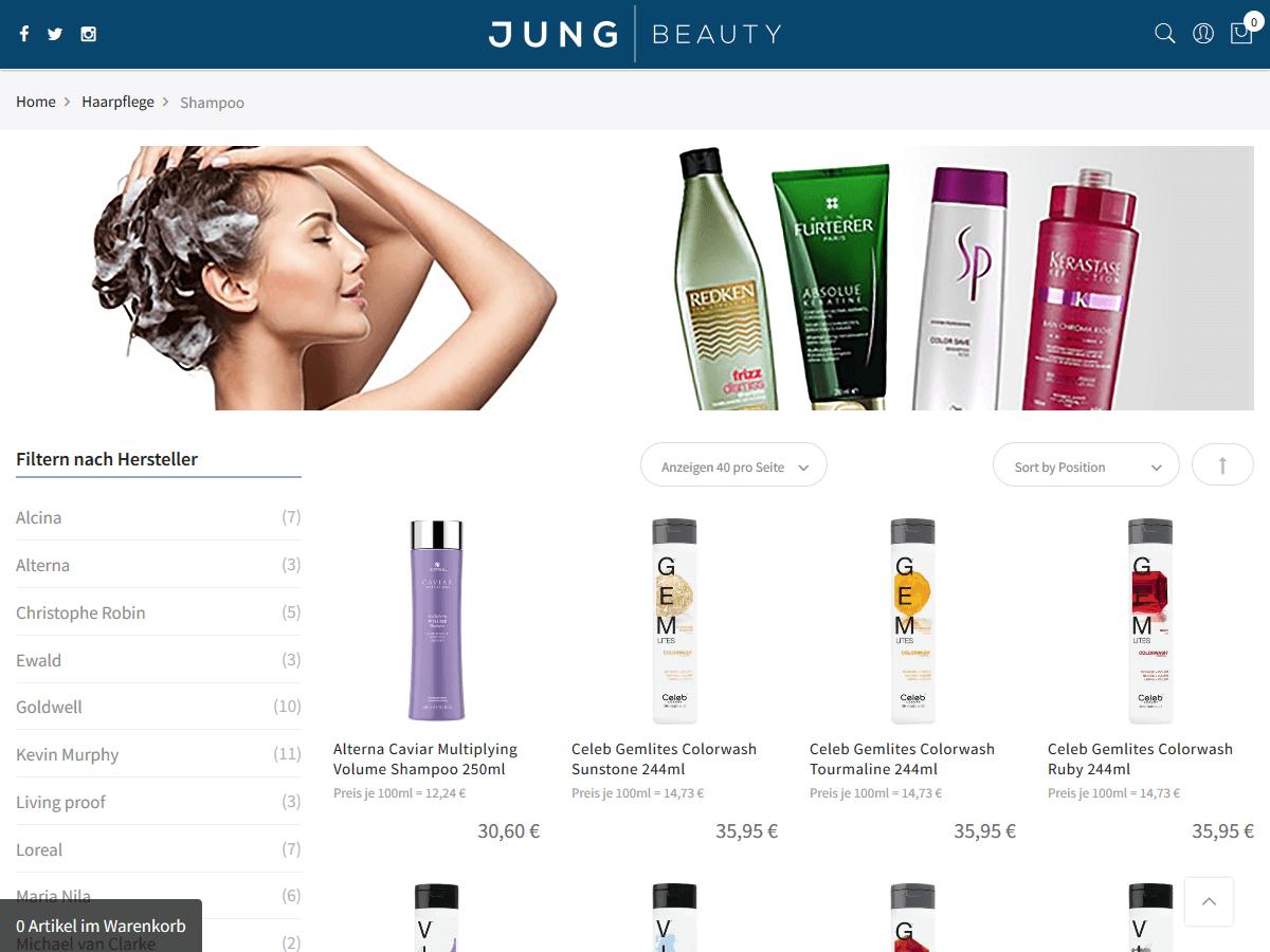 responsive Webdesign Jung Beauty Shop, Shampoos