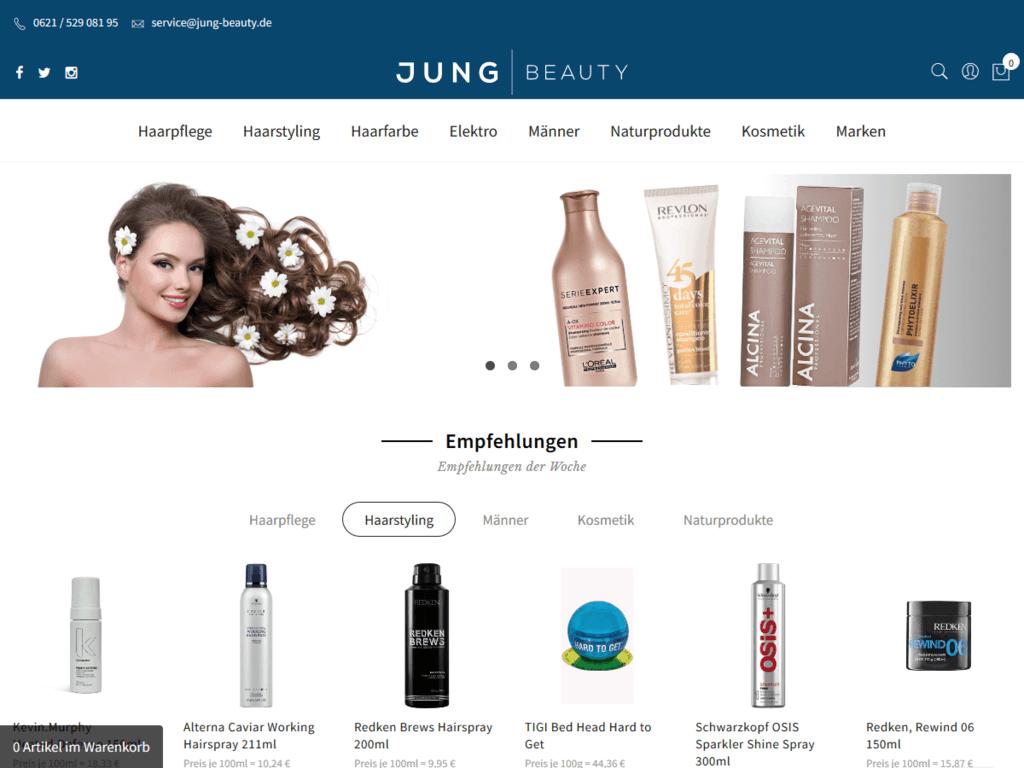 responsive Webdesign Jung Beauty Shop, Startseite