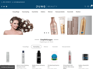 responsive Webdesign Jung Beauty Shop, Startseite