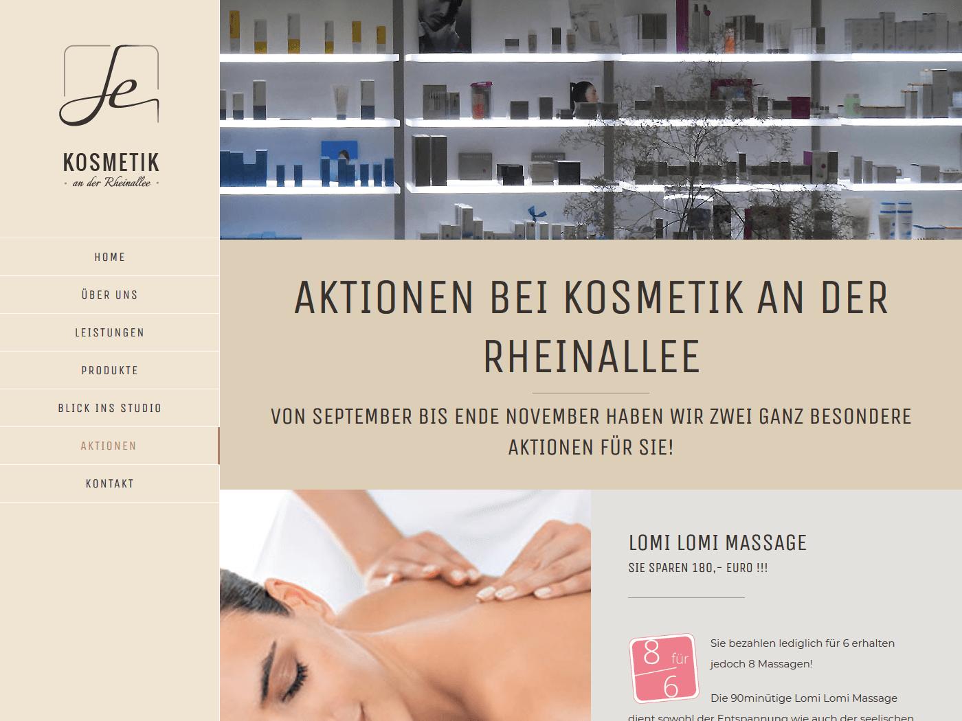 responsive Webdesign Kosmetik an der Rheinallee, Aktionen