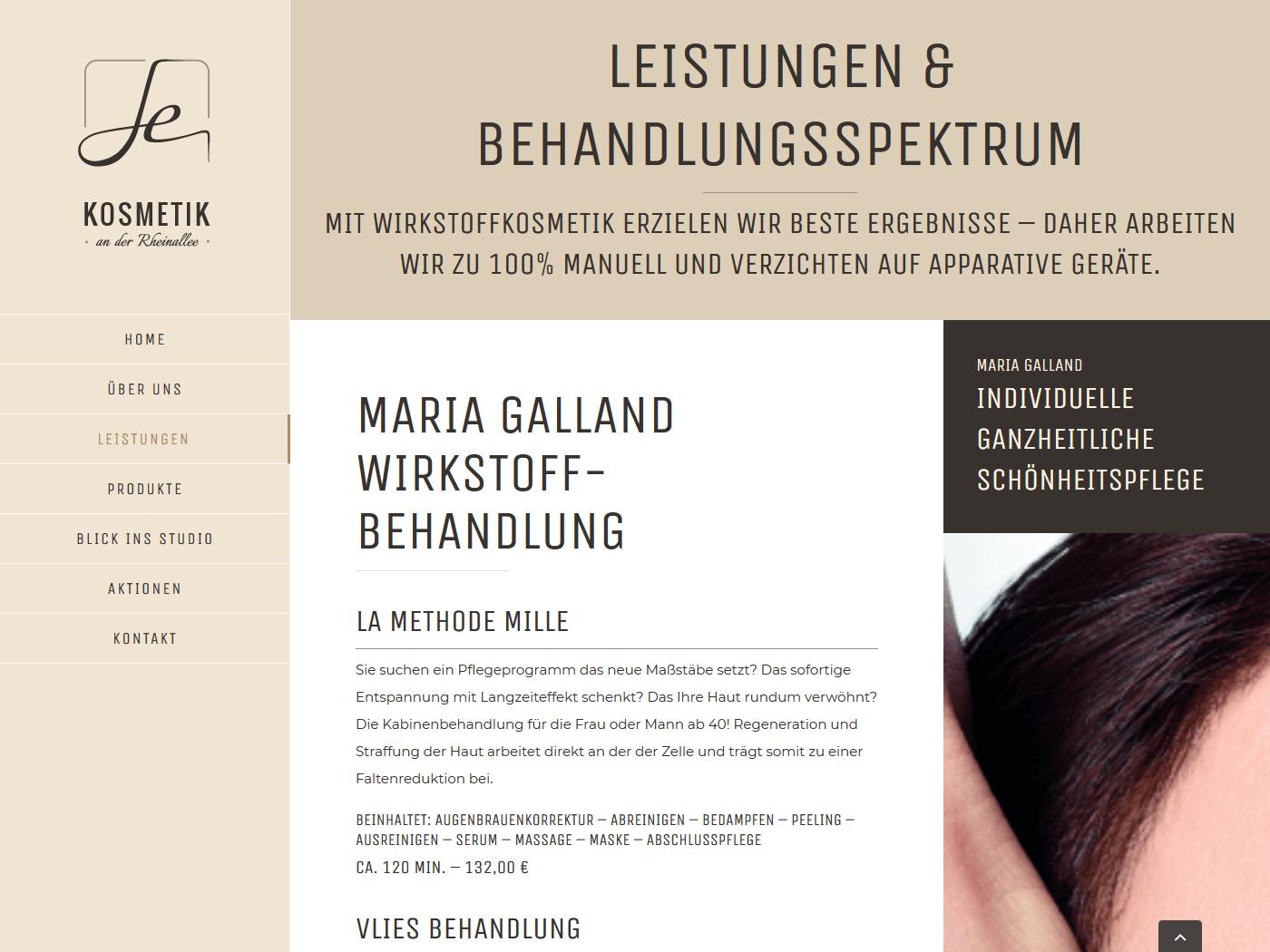 responsive Webdesign Kosmetik an der Rheinallee, Leistungen